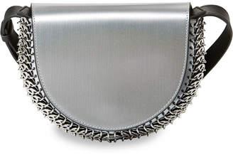 Paco Rabanne Leather Half-Moon Mini Crossbody Bag, Silver