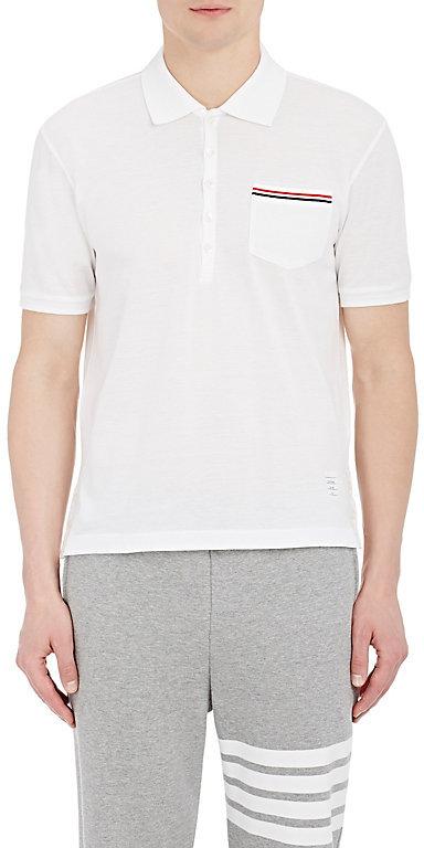 Thom Browne Men's Piqué Polo Shirt-WHITE