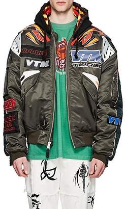 Vetements Men's Reversible Motocross Oversized Hooded Bomber Jacket - Olive