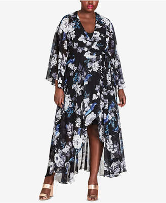 City Chic Trendy Plus Size Floral-Print Wrap Dress