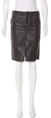 Laundry by Shelli Segal Leather Knee-Length Skirt
