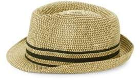 Saks Fifth Avenue Striped Patterned Fedora Hat