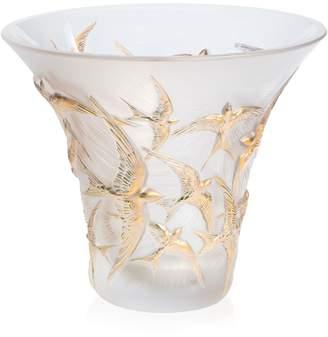 Lalique Crystal Hirondelles Swallow Stamped Vase