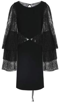 Roberto Cavalli Open-Back Paneled Lace And Stretch-Jersey Mini Dress
