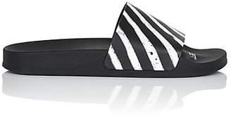 Off-White Men's Diagonal-Striped Rubber Slide Sandals - Black