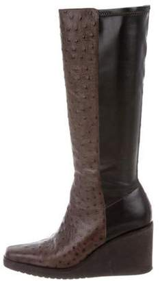 Donald J Pliner Ostrich Wedge Boots Brown Ostrich Wedge Boots