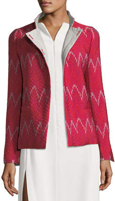 Emporio Armani High-Collar Long-Sleeve Patterned Knit Jacket