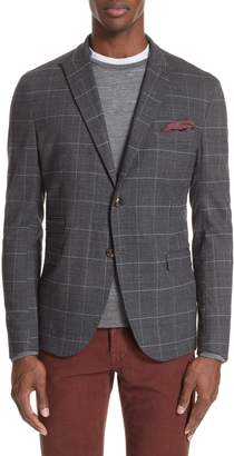 Eleventy Trim Fit Stretch Plaid Wool Sport Coat