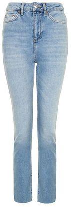 Topshop Moto blue raw hem straight leg jeans