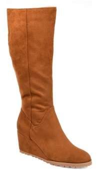 Brinley Co. Womens Wide Calf Comfort Lug Sole Wedge Boot