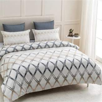 "A1 Home Collections A1HC Geomania Reversible Print 100% Organic Cotton Wrinkle Resistant Duvet Cover and Sham Set of 2 with Internal Ties and Button Closure, 88"" x 92"", Queen, Beige/Grey/White"