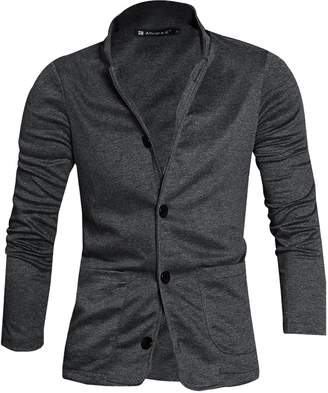Allegra K Men Turn Down Slim Fit Collar Single Breasted Long Sleeves Knit Blazer Medium