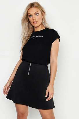 boohoo Plus Scuba Zip Detail Skater Skirt