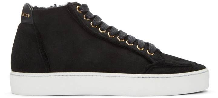 Burberry Black Salmond Mid-Top Sneakers
