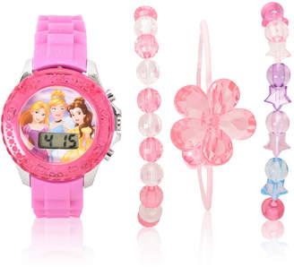 DISNEY PRINCESS Disney Princess Holiday 2018 Unisex Pink Strap Watch-Pn40023jc