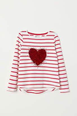 H&M Jersey Top with Sequin Motif - Red