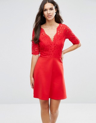 ASOS Scuba Skirt Lace Top Mini Skater Dress $53 thestylecure.com