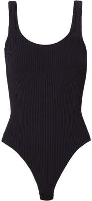 Ribbed Stretch-jersey Bodysuit - Navy