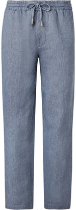 Mr P. Wide-Leg Light-Blue Linen And Cotton-Blend Chambray Drawstring Trousers