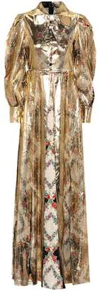 Silk-trimmed metallic gown