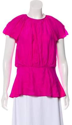 Zac Posen Silk Short Sleeve Blouse
