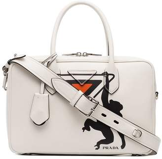 Prada white monkey print leather bowling bag