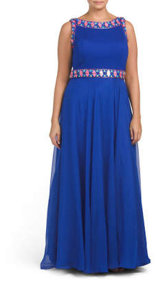 Plus Multi Color Bead Trimmed Gown