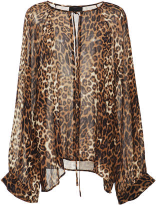 Nili Lotan Acadia Leopard-Print Silk-Chiffon Blouse