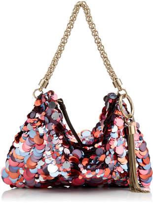 Jimmy Choo CALLIE Raspberry Mix Maxi Sequin Embroidery Clutch Bag