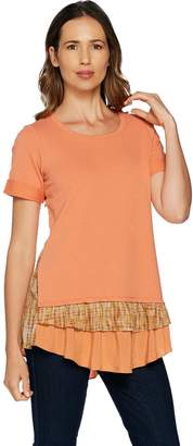 Logo By Lori Goldstein LOGO Lounge by Lori Goldstein Top w/ Solid & Printed Woven Tiers at Hem
