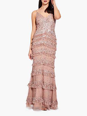 Adrianna Papell Bead Mesh Maxi Dress, Rose Gold
