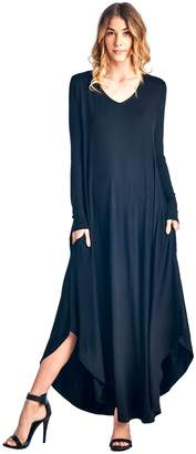 Ami 12 Curved Hem V-Neck Long Sleeve Maxi Dress S