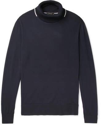 Joseph Contrast-Tipped Merino Wool Rollneck Sweater