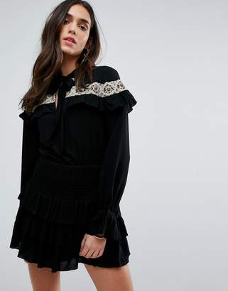 Tularosa Embroidered Cape Dress