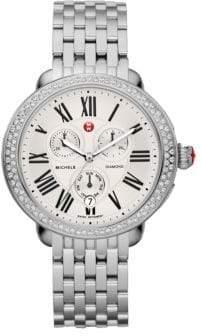 Michele Serein 18 Diamond& Stainless Steel Chronograph Bracelet Watch