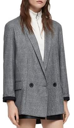 AllSaints Harriet Double-Breasted Plaid Blazer