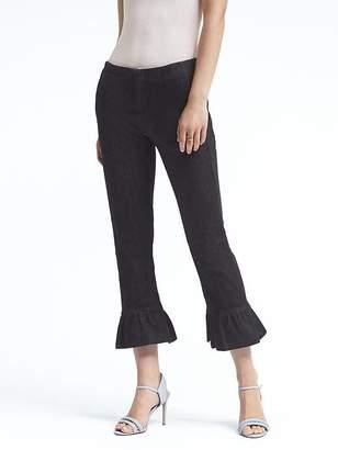 Banana Republic Logan Trouser-Fit Cropped Ruffle-Hem Denim Pant