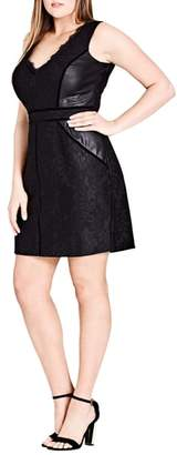 City Chic Luscious Lace & Faux Leather Dress