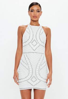 ff8ab14e2a Missguided White Halterneck Embellished Mini Dress