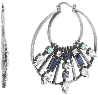Steve Madden Teardrop & Baguette Crystal Double Layer Hoop Earrings
