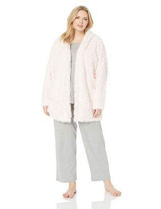 Splendid Women's Hooded Teddy Jacket Soft Bathrobe Warm Lounge Pajama Robe Pj