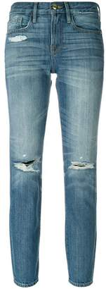 Frame distressed cropped jeans