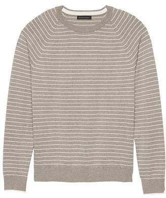 Banana Republic Premium Cotton Cashmere Stripe Crew-Neck Sweater