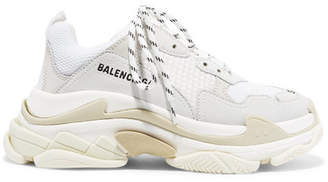 Balenciaga Triple S Suede, Leather And Mesh Sneakers - White