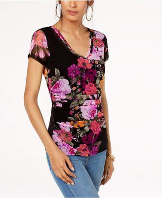 INC International Concepts I.n.c. Ruched Floral-Print T-Shirt
