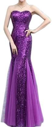 Eyekepper Bridesmaid Strapless Mermaid Sequins Ruching Tulle Wedding Dress
