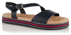 George Navy Diamante Sole Trim Leather Sandals