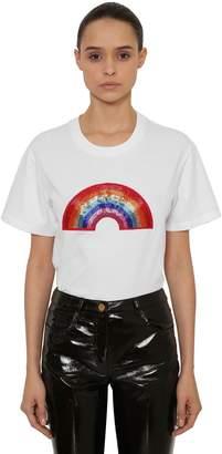 Alberta Ferretti Beaded Rainbow Cotton Jersey T-Shirt