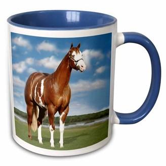 3dRose Champion Paint Quarter Horse - Two Tone Blue Mug, 11-ounce