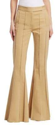 Rosie Assoulin Pleated Khaki Flare Pants